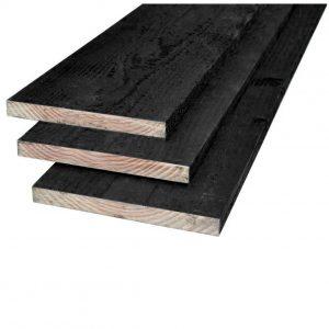 Grenen plank zwart 22 x 200 mm
