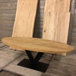 Eiken tafelblad ovaal 240 x 110 cm