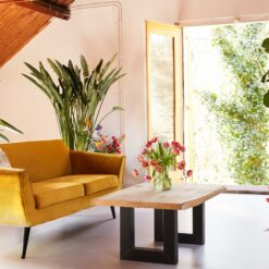 Eiken Salon boomstamtafelblad 120 x 80 cm
